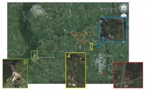 Figura 1. Vista aérea del Arroyo Canelón Chico y adyacencias. Se representan las diferentes zonas descritas en el texto.
